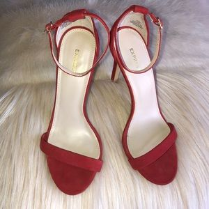 Red Suede High Heeled Sandals